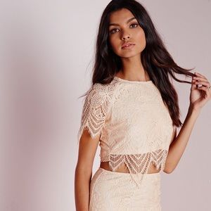 NWT Missguided scallop nude crop top US 1 UK 4